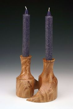 Multi-axis candlesticks - big leaf maple burl | Barbara Crockett Woodturning