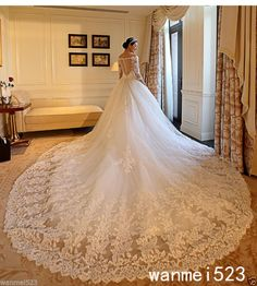 Shiny Long Sleeve A-Line Wedding Dress White Ivory Bridal Gowns Cathedral Train