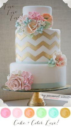 Gorgeous pastel wedding colors inspired by Erica OBrien Cake Design! <3  MospensStudio.com
