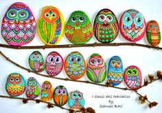 Colorful #owls i painted last year They are all natural sea stones, collected from beaches of Adriatic Sea, painted with acrylics and different paintpens