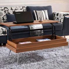 In the Mix MIX Laminate Wood Chrome Legs Walnut Lift-Top Rectangular Coffee Table with Hidden Storage Table Élévatrice, Coffee Table Desk, Walnut Coffee Table, Lift Top Coffee Table, Cool Coffee Tables, Coffee Table With Storage, Modern Coffee Tables, Dining Table, Contemporary Coffee Table
