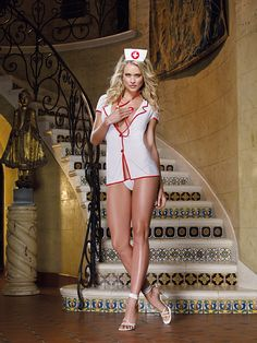 4-Piece Private Nurse Costume Set - Stretch mesh shirt-styled dress with red contrast piping, plunging neckline with button front closure and cap sleeves. Matching thong, nurse's cap and stethoscope included. One size fits all. Available in White/Red.