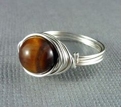 Wire Wrapped Jewelry Tiger Eye Ring Nickel Free ♥ by PolymerPlayin, $13.00