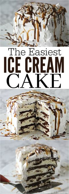 This is the best, Easy Ice cream Cake Recipe. This easy ice cream sandwich recipe can be thrown together in no time making it the best ice cream cake recipe!