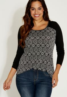 plus size knit top with beaded neckline - #maurices