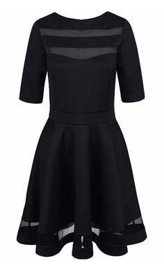 Black Short Sleeve O-neck Vintage Dress