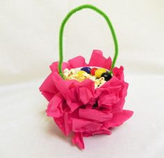 May Basket Idea: a nut cup covered with bright tissue and attach a chenille stem. May Day Baskets, May Days, Teacher Gifts, Fun Stuff, Bright, Holidays, Thoughts, Spring, Kids