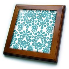PS Nature  Chic Aqua Teal and White Abstract Floral  8x8 Framed Tile ft_164508_1 -- Click image to review more details.