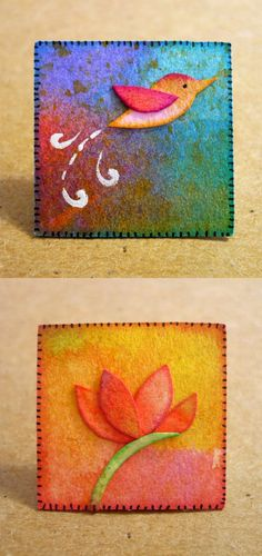 Oops, I Craft My Pants: Microcosmos! Watercolor scrap Inchies -- paper, not felt but may be an idea for felt.