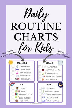 Help your kids to learn and create healthy habits by using daily routine checklists and charts! These are easy for families to use at home to encourage independence in their toddlers and… Daily Routine Chart For Kids, Daily Routine Schedule, Charts For Kids, Daily Routines, Home School Schedule, Routine Planner, Babysitting Activities, Summer Activities For Kids, Summer Kids