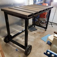 welding table plans or ideas Welding Bench, Welding Table Diy, Welding Cart, Metal Welding, Metal Projects, Welding Projects, Welding Tips, Welding Ideas, Table Frame