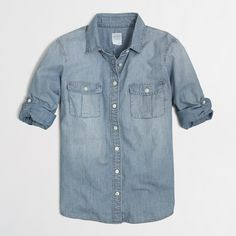 Factory classic chambray shirt : Washed | J.Crew Factory... (Every girl needs a denim Chambray shirt--short and long/sleeved.  They go with SO much.  Very versatile!  xoTC)  #JCrew
