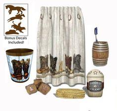 Saddle Up Western / Cowboy / Rodeo Bathroom Décor plus Bonus Decals, 6pc Set Decor by HDC http://www.amazon.com/dp/B00D4B7DUC/ref=cm_sw_r_pi_dp_UMp4tb0A9035B