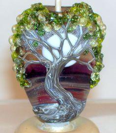 WSTGA~MORNING DEW~SPRING MOON FLORAL TREE handmade lampwork focal glass bead SRA #WindSweptTreeGlassArt #Lampwork By Molly Cooley