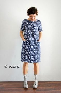 rosa& sewing café :: SEWALONG DRESS LIVA, last part - today it is time again: we meet for the last time ! Easy Sewing Patterns, Dress Patterns, Diy Birthday Shirt, Vestido Casual, Diy Shirt, Stylish Dresses, Free Sewing, Sewing Clothes, Pulls