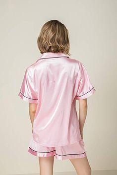33d9c2e78237e NANJUN Women s Satin Pajamas Sleepwear Short Button-Down Pj Set(Black