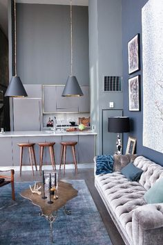 Home Decor. Kitchen and living room in blue.
