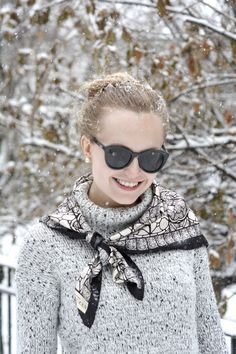 Snow Day Outfit featuring Forever Alexander McQueen, Le Specs, Victoria Beckham Nails Inc, Oscar Sport Ski Boots Snow Day Outfit, Outfit Of The Day, Silk Neck Scarf, Sport Fashion, Womens Fashion, Skull Scarf, Ski Boots, Advanced Style, Skinny Girls