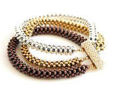 Beading Tutorial - Trinity Metal Bead Bracelet Pattern - Right Angle Weave.