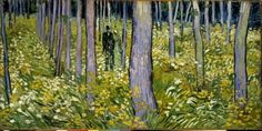 Vincent van Gogh: Undergrowth with two figures, Oil on canvas, 19 x 39 inches x cm), Cincinnati Art Museum. Vincent van Gogh's love of nature is well known from… Vincent Van Gogh, Henri Rousseau, Pierre Auguste Renoir, Paul Gauguin, Van Gogh Museum, Art Museum, Van Gogh Arte, Van Gogh Pinturas, Cincinnati Art