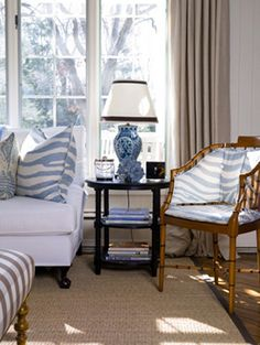 Perfect little blue, cream, and tan living room vignette by Lee Ann Thornton. Love the blue and white ginger jar style lamp, Blue Rooms, White Rooms, My Living Room, Living Spaces, Hm Home, Interior Decorating, Interior Design, Decorating Ideas, White Decor
