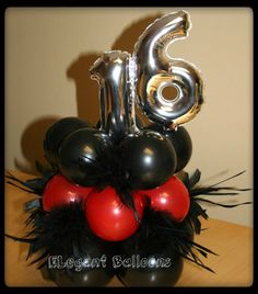 black/red with feathers sweet 16
