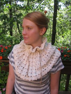 Snowdrop Eyelet Lace Drawstring Cowl Cape by TheKnitKnot on Etsy, $4.00