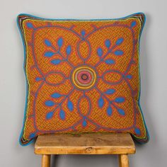 Ucayali Cushion- Intricately hand-embroidered by Shipibo, an Amazonian tribe living in the Peruvian rainforest.