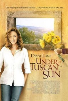 Under the Tuscan Sun is a 2003 film American romantic comedy drama film written, produced, and directed by Audrey Wells and starring Diane Lane. Based on Frances Mayes' 1996 memoir Under the Tuscan Sun, the film is about a recently-divorced writer who buys a villa in Tuscany on a whim, hoping it will lead to a change in her life. Stars Diane Lane, Sandra Oh, Lindsay Duncan, Raoul Bova, Vincent Riotta, etc.