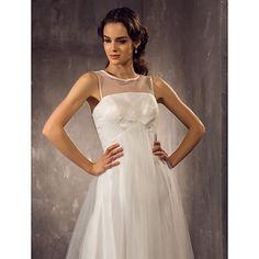 A-line Plus Sizes Wedding Dress - Ivory Floor-length Scoop Tulle Wedding Dresses Wedding Dresses Under 100, Cheap Wedding Dress, Plus Size Wedding, Tulle Wedding, Dresses Uk, Buy Dress, Bridal Gowns, Ivory, Floor