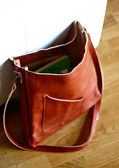 Leather Messenger Bag  leather bag   by Creazionidiangelina, €135.00