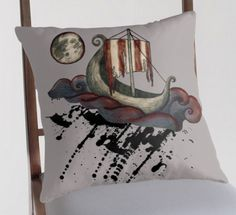 Viking Voyage on Cushion Cover.  Illustrated with Pencil and Digital Colouring by Imogen Smid. - Viking Ship, Viking Boat, Moon, Full Moon, Ragnarok, Norse Mythology, Naglfar