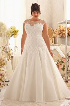 Fit and Flare Cap Sleeves Plus Size Wedding Dress with Appliques