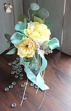 Yellow Rose and Aqua blue Bridesmaids wedding bouquet - Venue and reception decor (*Amazon Partner-Link)