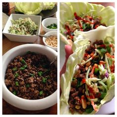 korean beef cabbage tacos with asian broccoli slaw. fast, easy, cheap, healthy, and delicious. Healthy Korean Recipes, Asian Recipes, Beef Recipes, Vegetarian Recipes, Easy Healthy Breakfast, Healthy Eating, Healthy Dishes, Clean Eating, Asian Broccoli Slaw