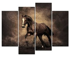 Amazon.com: SmartWallArt - 4 Panel Wall Art Grey Painting A Handsome Horse Running On The Land Picture On Canvas Stretched By Wooden frames For Living Room Decor Or As A Gift: Oil Paintings