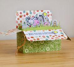 Lawn Fawn is één van mijn favoriete merken. In hun nieuwe collectie zit een stans waar je een pop-up kaart in de vorm van een doosje k...