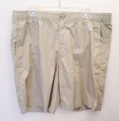 Eddie Bauer Men's Khaki 100% Cotton Shorts XL #EddieBauer #FlatFront