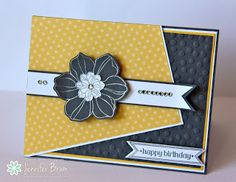 handmade card for Freshly Made Sketches: Freshly Made Sketches #119 - A Sketch by Cindy L. ... black and yellow with spots of white ... great interoretation of the sketch ...