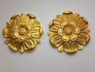 FURNITURE HARDWARE FLOWER ROSETTE ROUND 24KT GOLD PLATE MATCHING TABLE DESK