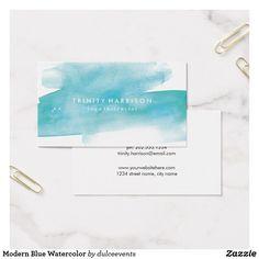Modern Blue Watercolor Business Card. Business card ideas.