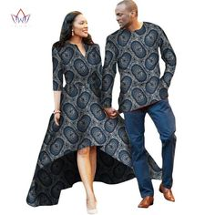 Couple or Lovers Dashiki African Dress for Women and Men Long Sleeve Shirt - Owame African Dresses For Women, African Attire, Couple Outfits, Dashiki, Cotton Dresses, African Fashion, Sleeve Styles, Lovers, Couture