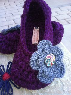Ladies Slippers Deep Purple Perfection with Flower by GrammaLeas, $15.00