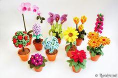 Set Häkelanleitung für hübsche Blumen im Tontopf / diy crochet instruction: set of cute flowers by Renirumis Kleinigkeiten via DaWanda.com