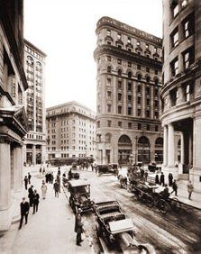 Crocker Building at Post & Market Streets.  This area is the heart of the financial center of San Francisco. circa 1915