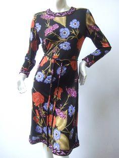 Averardo Bessi Silk Jersey Floral Print Dress Made in Italy 1990