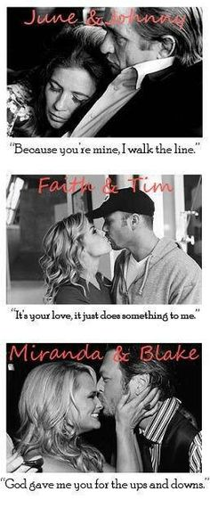 Country music couples unfortunately Miranda and Blake don't count anymore since their divorce. But the other two definitely