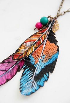 feather painted charms