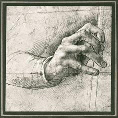 Leonardo da Vinci-Study of a Hand (pen & ink on paper) #TuscanyAgriturismoGiratola