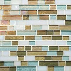 Caribbean Blend Random Linear Mosaic Tile With color names like waves, sea glass, sky blue, lagoon, driftwood, reed and moonlight, this mosaic glass tile would make a stunning coastal kitchen backsplash. — Kim Wilson - Sand & Sisal Product Specifications Sold Byproducts.daltile.com  | Visit Store »